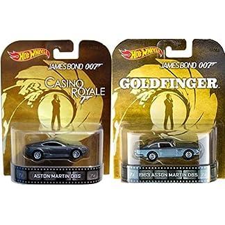 007 Aston Martin Set Goldfinger & Casino Royale Retro Entertainment Hot  Wheels James Bond 2 car Silver Aston Martin DB5 & DBS