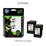 HP 63 Black Original Ink Cartridge (F6U62AN), 2 Cartridges (T0A53AN)