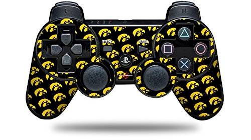 Sony PS3 Controller Decal Style Skin - Iowa Hawkeyes Tigerhawk Tiled 06 Gold on Black (CONTROLLER NOT INCLUDED)