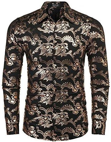 fab0100a0a COOFANDY Mens Paisley Shirt Luxury Design Long Sleeve Casual Button Down  Shirts