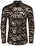 COOFANDY Mens Paisley Shirt Luxury Design Long Sleeve Slim Fit Button Down Shirts