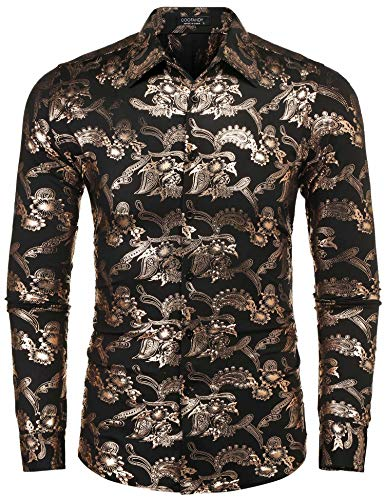 COOFANDY Mens Paisley Shirt Luxury Design Long Sleeve Slim Fit Button Down Shirts by COOFANDY