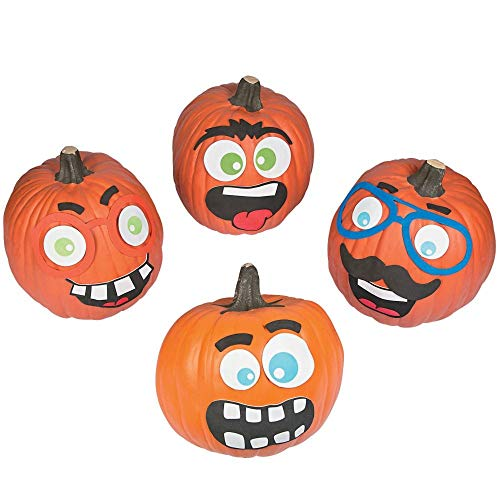 Halloween Funny Face Pumpkin Decorating Premium Craft Kit Foam Stickers - 12 Pumpkins]()
