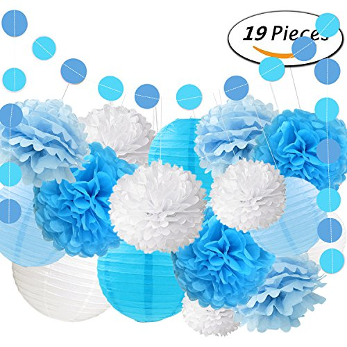 Fonder Mols 19Pcs Blue Tissue Paper Pom Poms Lanterns And Garlands For Nautical Bridal Shower   Bachelorette Party Mediterranean Style Decorative
