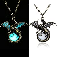 supaen 2017 Vintage Punk Glow In The Dark Dragon Pendant Necklace Fashion Jewelry Gifts