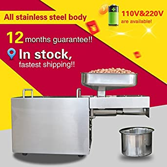 Automatic Small Oil Press Machine Stainless Steel Cold Hot Presser 110V