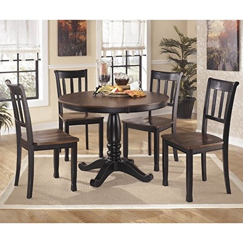 Ashley Owingsville 5 Piece Round Dining Set in Black and Brown