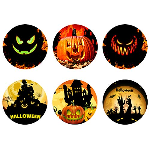 Coloranimal Lightweight Fabric Absorbs Coasters 6 Piece Sets, Funny Halloween Pumpkin Party Design Non Slip Coaster for Drinks, Destop Protection Prevent Furniture Damage]()