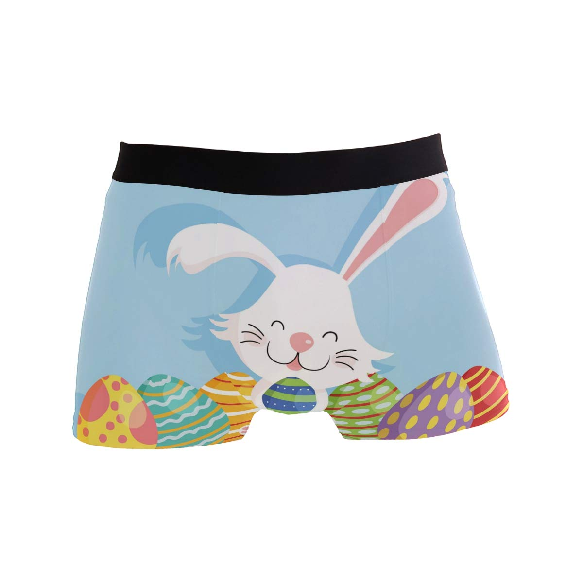 SUABO Men Boxer Briefs Polyester Underwear Men 2 Pack Boxer Briefs with Bunny with Eggs Pattern
