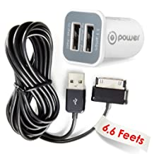 T-Power ( 6.6 ft cord )2AMP Car Charger for Samsung Galaxy Tab NOTE GT-P6210 GT-P6800 GT-P6810 Replacement Auto boat adpater + USB Data Charge Sync Cable power supply cord plug spare