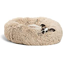 """Best Friends by Sheri Luxury Shag Fuax Fur Donut Cuddler (Multiple Sizes) -Round Donut Cat and Dog Cushion Bed, Orthopedic Relief, Self-Warming and Cozy for Improved Sleep - Prime, Machine Washable, Water-Resistant Bottom, Marrón topo, 23""""x23"""""""