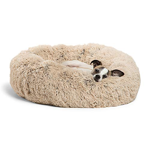Best Friends by Sheri Calming Shag Vegan Fur Donut Cuddler (23x23) - Small Round Donut Cat and Dog Cushion Bed, Warming and Cozy for Improved Sleep - Prime, Machine Washable - Small Pets Up to 25 lbs from Best Friends by Sheri