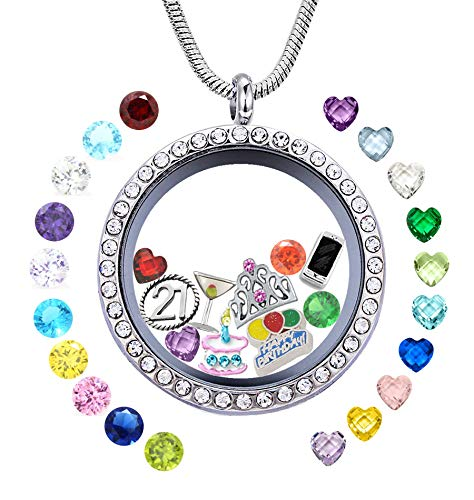 JOLIN Happy 21st Birthday Gift, Stainless Steel Memory Floating Locket Necklace Pendant with Charms & Birthstones for Daughter, Granddaughter, Aunt, Niece, Cousin, Best Friend, Sister, Wife