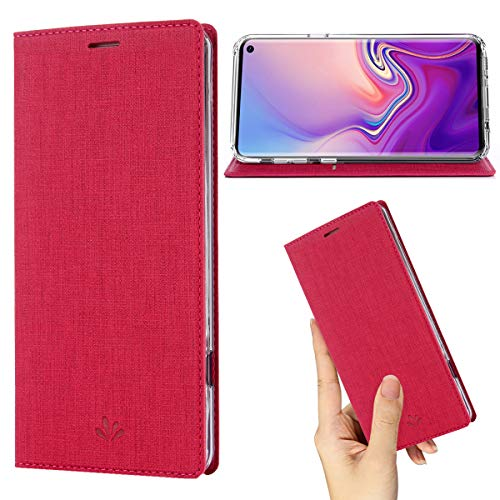 (Samsung Galaxy S10 Plus Case,Premium Flip Leather Wallet Case Stand Kickstand Card Slot Magnetic Full Body Protective Cover Clear TPU Bumper Thin Case for Galaxy S10 Plus (Rose1, S10 Plus))