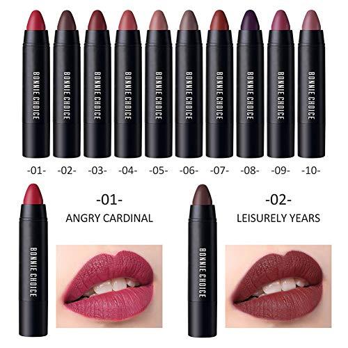 BONNIE CHOICE 10 Colors Moisturizing Matte Lip Pencil Crayon, Velvet Lipstick Waterproof Long Lasting Makeup Cosmetic Hot Red Lip Liner