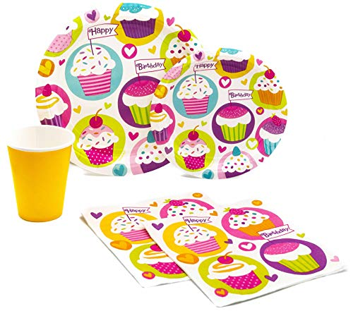 Happy Birthday Cupcake Pack! Disposable Paper Plates, Napkins and Cups Set for 15 (With free extras) - Birthday Cupcake