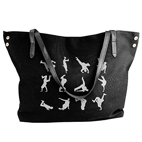 Large Hobo Tote Tote Black Hop Hip Shoulder Handbag Dance Bag Canvas Handbag Women's 5w8FP