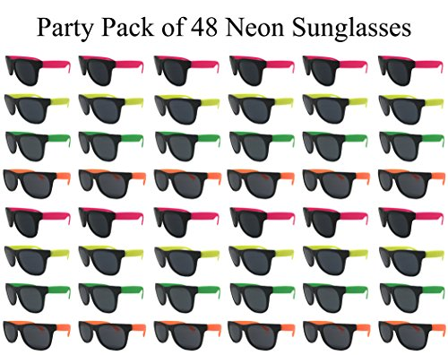 The Gags Wholesale Party Pack-48 Assorted Cool Colors Neon Sunglasses for Graduation-Mardi-Gras-Holidays-Birthdays ()