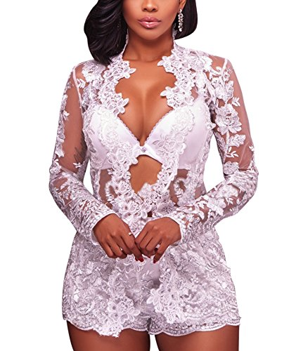 IyMoo 2 Piece Outfits for Women Long Sleeve Floral Blazer with Short Pants Jumpsuit Romper White Small (Coat Top Pants)
