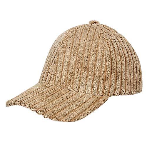 LIULIULIUWomen Lady Man Corduroy Ponytail Baseball Cap Messy Bun Snapback Hat Sun Caps (Khaki)