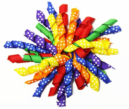 Primary Colors Rainbow Polka Dots Curly Ribbon Korker Hair Bow Clip - 4