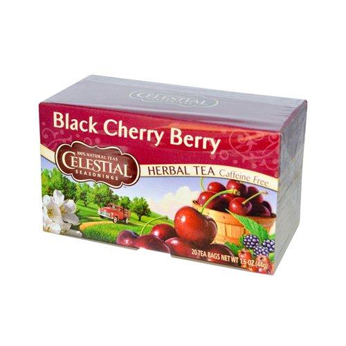 Celestial Seasonings Herbal Tea Caffeine Free Black Cherry Berry - 20 Tea Bags - Case of 6 - Gluten Free -
