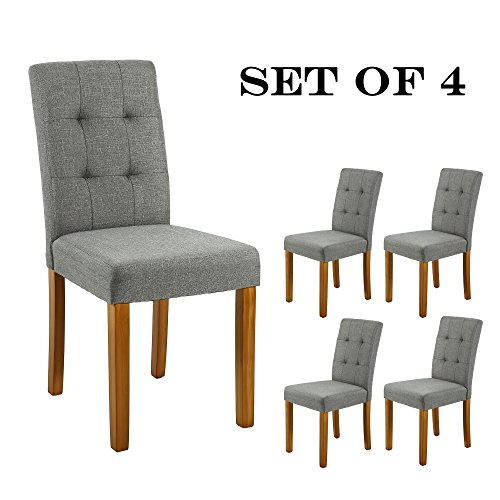 LSSBOUGHT Upholstered Dining Chair Parson Dining Chair with Solid Wood Legs, Set of 4, Gray