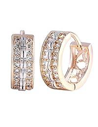 18K Gold Real 18K Gold Filled Platinum white Swarovski Crystal Huggie earring Magnificent