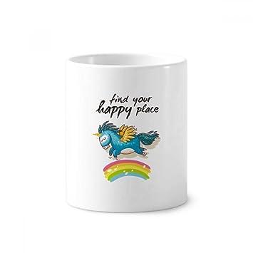 DIYthinker Encuentra tu lugar feliz Patrón Unicornios soporte de cerámica taza del cepillo de dientes de