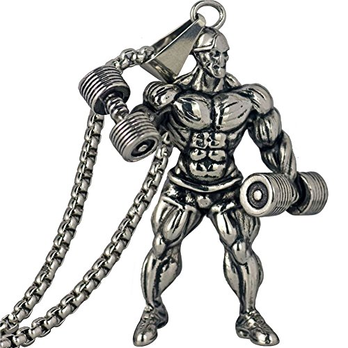 LIANTSH Dumbbell Pendant Necklace Men Stainless Steel Chain Silver Fitness Strong Man Hippie Necklace Motivation Gym Hip Hop Jewelry ()