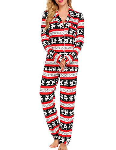 Ekouaer Sleepwear Womens Christmas Pajama Set,X-Large,Christmas Red -