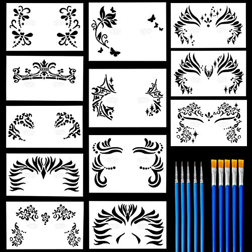 Halloween Eye Painting Ideas (12 Pack Face Painting Stencils Safe & Non-Toxic Reusable Body Painting Facial Makeup Tattoo Template Halloween Makeup Stencil with 10 Nylon)