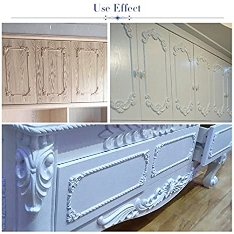 WINGOFFLY Wood Carved Onlay Corner Unpainted Applique Frame for Decoration Home Furniture Doors Windows Romance 4 Pics 4x4x0.32