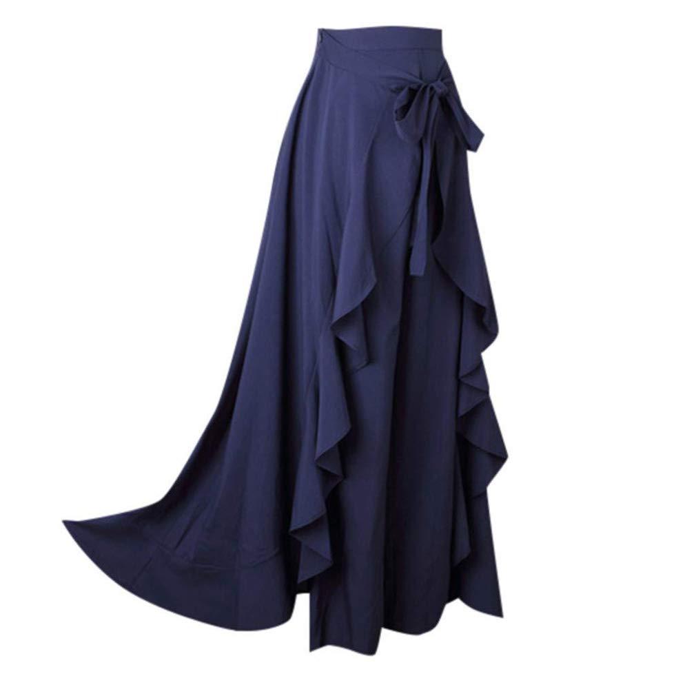 Mujer Falda y Pantalon Largos de Cintura Alta Suelta Palazzo Pants Ruffle Elegante Falda Larga Casual Retro Coctel Pantalones