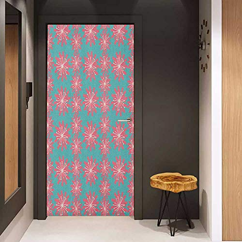 - Onefzc Self-Adhesive Wall Murals Outdoor Germinating Plants Wildflowers Twigs Sprouts Buds Lively Rustic Patio Print Sticker Removable Door Decal W31 x H79 Teal Pink White