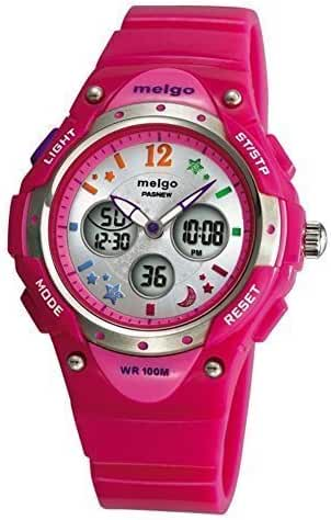 PASNEW High Quality Water-proof 100m Dual Time Unisex Child Outdoor Sport Watch Pink