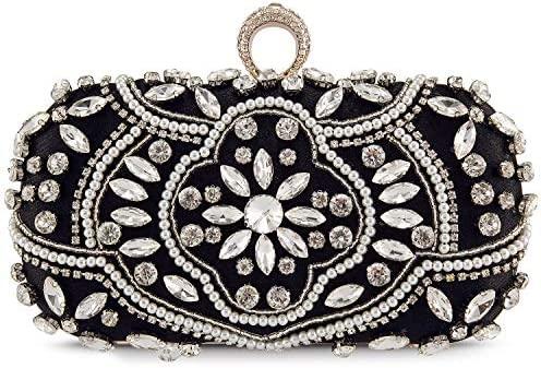 Bolso de Fiesta Pequeña Elegante Noche Diamantes de imitación Clutch Monedero del Banquete Bolso de Boda Cocktail Negro