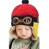 CELLTEK® Fashion Boys Cool Pilot Aviator Crochet Earflap Hats Warm Winter Cap (Red)