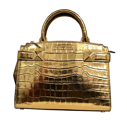 Michael Kors Karla East West Small Satchel Bag Embossed Leather Metallic Gold (Gold)
