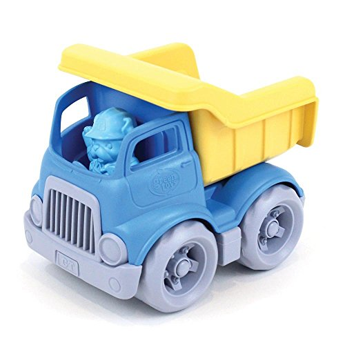 Green Toys Dumper Construction Truck - Blue/Yellow Toy, Blue and Yellow, 5.75x7.5x5.5