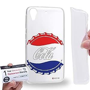 Case88 [HTC Desire 626 / 626s / 626G] Gel TPU Carcasa/Funda & Tarjeta de garantía - Art Hand Drawing Coke Cola Red & Blue Bottle Caps Art4017
