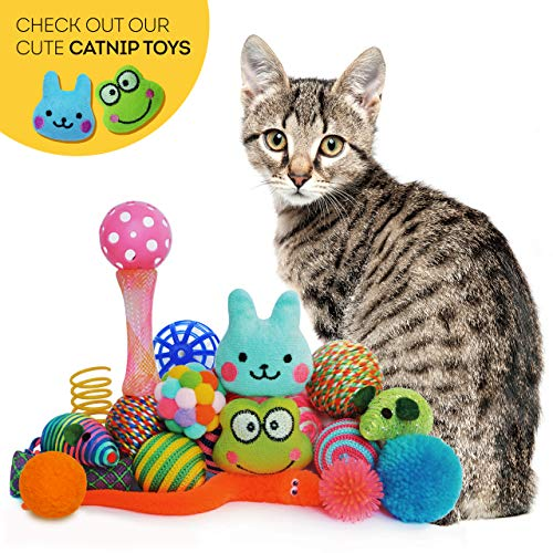 Cowfish Cat Toys Kitten Toys Assortments, 27PCS Variety Toy Set Including Cat Feather Teaser Wand, Feather Toys, Mice, Catnip Toys, Colorful Balls, Bells for Cat, Kitty, Kitten 3