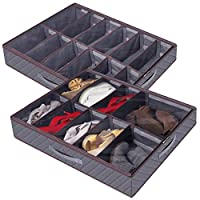 Lifewit Shoe Organizer Large Adjustable Dividers Under Bed Storage Bag