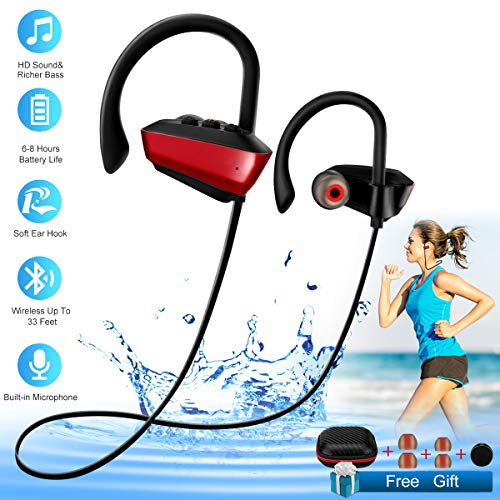Wireless Bluetooth Headphones Sport Waterproof Bluetooth Earphones with Mic for Running in-Ear Wireless Sport Earbuds 8 Hour Playtime Bass Stereo Sweatproof Headphones for Workout Gym Men Women