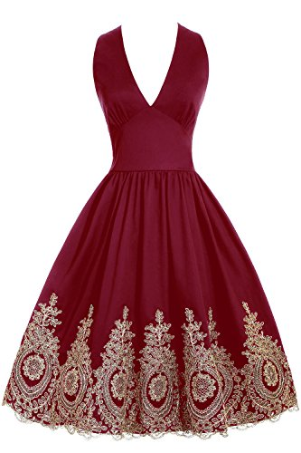 Gown Quinceanera New (New Year Eve Christmas Party Dress 2019 Short Prom Dress Cocktail Bridesmaid Gowns with Gold Appliques Burgundy)