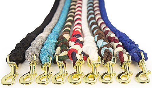 Handmade Lead - FMS Cotton Rope Leash Lead - Pet, Dog, Horse Lead 1/2-inch x 25 Foot - Handmade in the USA in Custom Colors with Heavy Duty Hardware (Grey)