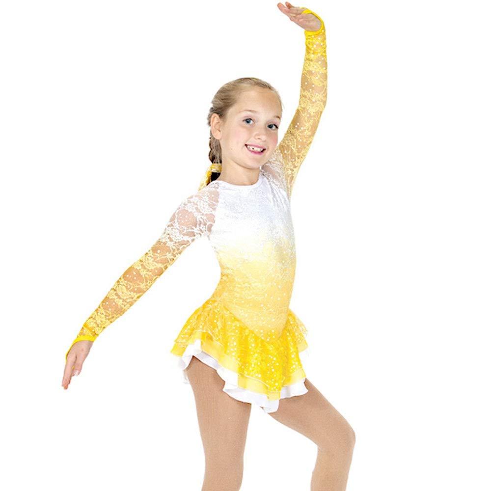 フィギュアスケートドレス女性女子アイススケートのパフォーマンス競争コスチュームスパンデックスラインストーン手作りイエロー勾配レーススケート長袖を着用してください 黄 gradient M