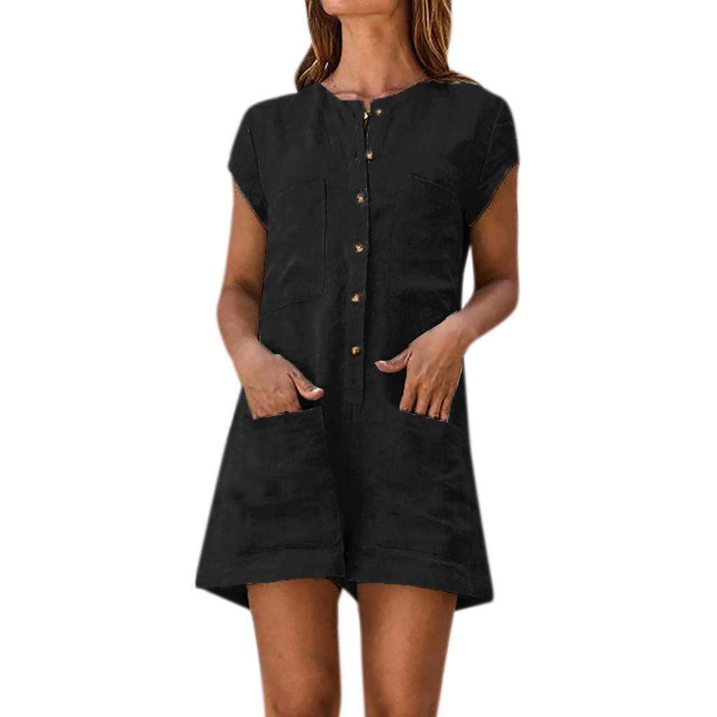 Cardigo Womens V-Neckline Solid Romper Short Sleeve Casual Pocket Button Jumpsuits Black