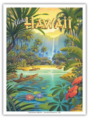(Aloha Hawaii - Vintage Style Hawaiian Travel Poster by Kerne Erickson - Master Art Print - 9in x 12in)
