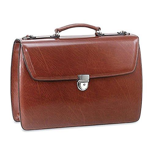 Leather Triple Gusset Flap - Jack Georges Triple Gusset Flap Over Leather Briefcase 4403 (COGNAC)